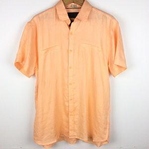 Bruno Orange Linen Short Sleeve Button Down
